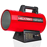 HEXAGO 60,000 BTU Adjustable Portable Liquid Propane Gas Forced Air Heater, Height Adjustable, CSA Listed, Red, Heating up to 1,500 sqft