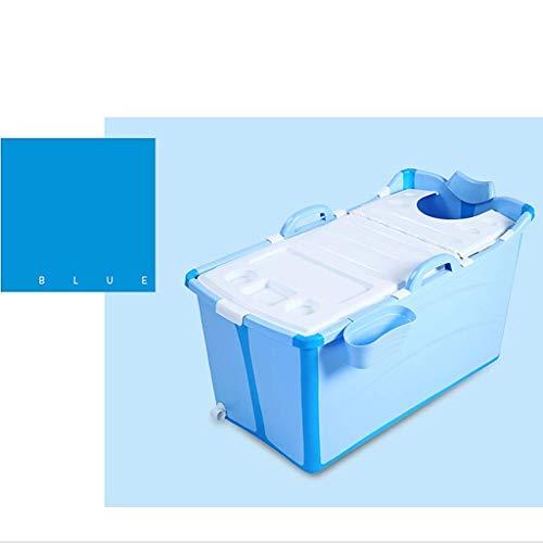 yunyu Bañera Plegable portátil para bebés Baño para niños Bañera Caliente para niños Bañera Independiente Piscina Bañera SPA Cubo de baño para 2 bebés, con Tapa 50x91x44cm (Color: Azul)