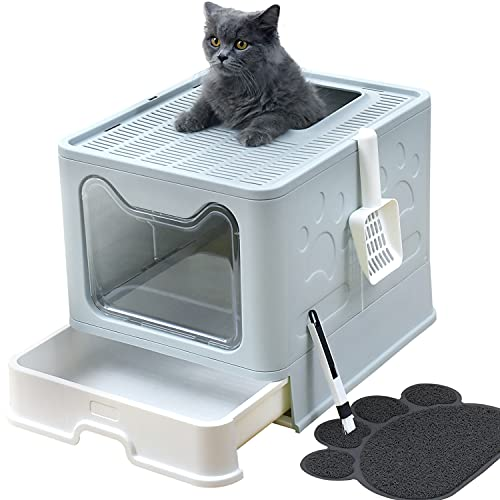 UIMNJHUKE Top Entry Cat Litter Box with Lid,Large Foldable Litter Box with Cat Litter Box Mat , Litter Scoop , Cleaning Brush