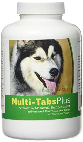 Healthy Breeds Dog Daily Vitamin and Mineral Supplement Chewable Tabs for Siberian Husky - Over 80 Breeds – 180, 365 Chews – Formula for Young or Senior Pets – Easier Than Liquid, Powder