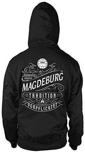 Mein Leben Magdeburg Männer und Herren Kapuzenpullover   Fussball Ultras Geschenk   M1 FB (XXXXL, Schwarz)