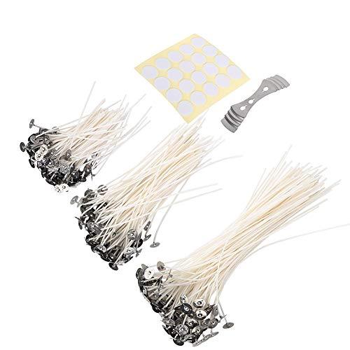 300pcs 10/15/20cm Mechas de Velas Hilo de algodón de bajo Humo con Pegatinas de mechas de Velas y Dispositivo de centrado Kit de fabricación de Velas para Velas DIY