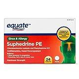 Pack of 10 - Equate Suphedrine PE Sinus & Allergy Antihistamine/Nasal Decongestant Tablets, 24 ct