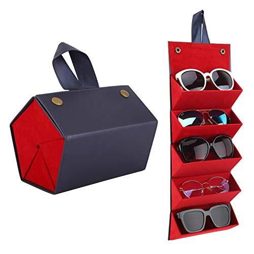 MoKo Estuche de Gafa para Almacenar 5 Anteojos, Gafas de Sol Presentación Gafas Pantalla, Organizador Portátil Caja de Cuero para Gafas Estuche para Guardar para Hombre y Mujer - Azul Acero
