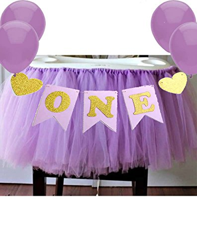 Purple 1st Birthday Baby Tutu for High Chair Decoration and'ONE' Pennant Mermaid Happy Birthday for Highchair