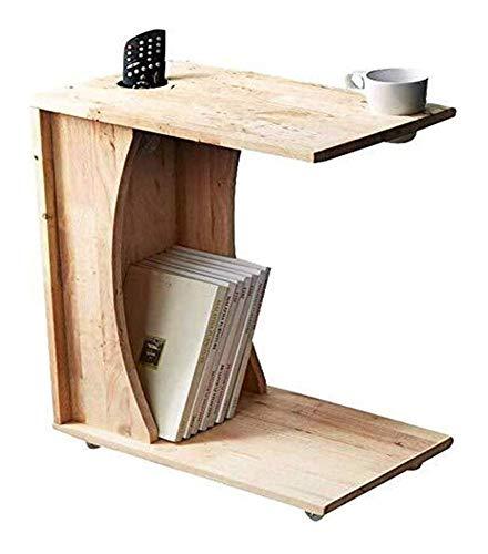 WSHFHDLC mesa de café Mesas de centro simple mini cuadrado de madera sala de estar pequeña mesa armario estantería doble capa mesa lateral pequeñas mesas de café