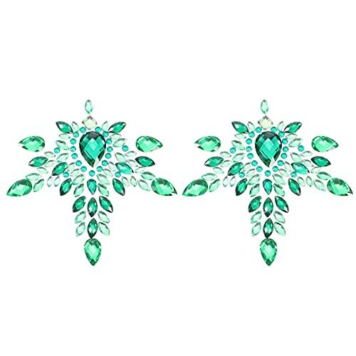 Holibanna Joyas para El Pecho Tatuaje Joyería Corporal Pegatinas Autoadhesivas Piedras Preciosas de Cristal Se Pegan en El Brillo Tatuajes Faciales Temporales para DIY Rave Festival