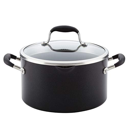 Anolon Advanced Hard Anodized Nonstick Stock Pot/Stockpot with Straining and Lid - 6 Quart, Black