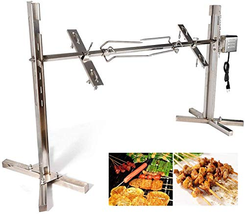 TBVECHI 70KGF BBQ Rotisserie Grill Kit Large Rotisserie Spit Roaster Grill Rod 15W Electric Rotisserie Kit BBQ Grill Kit Heavy Duty for Pig Rotisserie Hog Lamb
