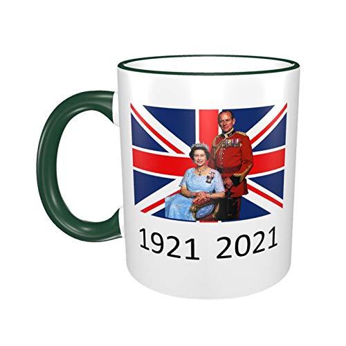 Queen Elizabeth II & Prinz Philip auf der britischen Flagge, UK Britain Monarch Tasse, 1921–2021, Waldgrün