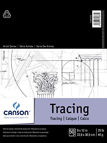 Canson Foundation Tracing Paper Pad, 25 Pound, 9 x 12 Inch, 50 Sheets