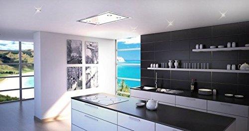 Campana de techo de lujo de 120 x 60 cm, diseño de acero inoxidable y cristal blanco, motor de aspiración de 900 m3/h, campana extractora, mando a distancia de alta calidad, 4 bombillas LED de