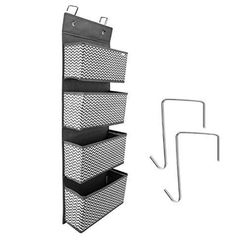 Navaris Hängeregal Hängeorganizer mit 4 Fächern - hängendes Ordnungssystem Aufbewahrung - ohne Montage oder Bohrung - für Jede reguläre Tür