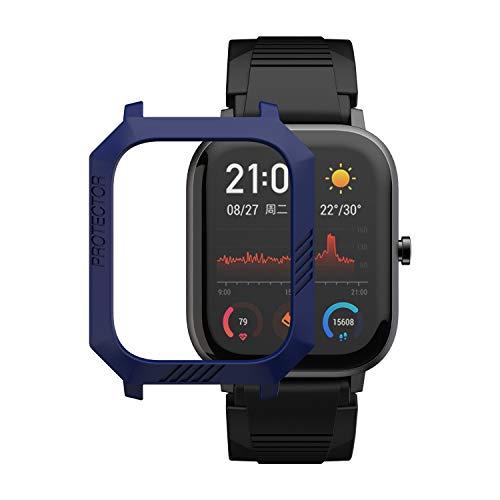 MOSHOU Sport Schutzhülle Kompatibel für Huami Amazfit GTS Smartwatch, Slim Schützen Bunte Rahmen PC Case Cover Fall Abdeckung Hülle Shell MEHRWEG (Mitternacht Blau)