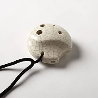 6 Hole Tai Chi Pendant Ocarina– Ceramic - White Crackle Finish– Soprano G – Focalink -Perfect Travel Companion - Easy to Play – Free Tutorial & Songbook Included