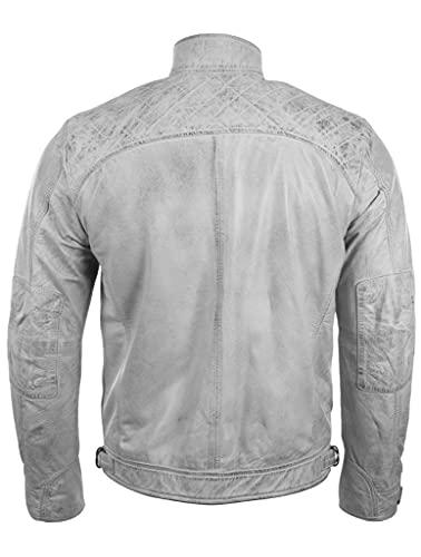 Herren-Bikerjacke von MDK aus 100 % superweichem Echtleder mit Rautensteppung an den Schultern - 2