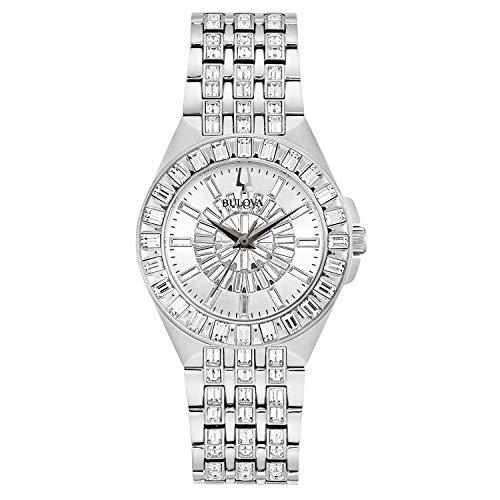Bulova Crystal Quartz Ladies Watch, Stainless Steel , Silver-Tone (Model: 96L278)