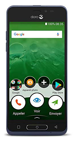 avis smartphone senior professionnel Doro 8035 Smartphone 4G débloqué (Écran: 5 pouces – 16 Go – Nano SIM – Android) Bleu [Version…