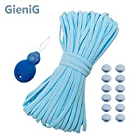 GieniG マスクゴム紐 平ゴム 手作りゴム ソフト替えゴム ゴムひも 痛くなりにくい ハンドメイド/洋裁 太さ5mm 長さ 約20m (20M, ブルー)