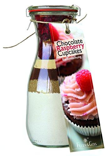 Backmischung im Glas für Chocolate Raspberry Cupcakes – Raffinierte Geschenk-Idee für Backfreunde – Gourmet Backzutaten im Weckglas für Schokoladen-Himbeer-Cupcakes – Mini-Kuchen Fertig-Mischung als Party-Snack oder Dessert – von Feuer & Glas