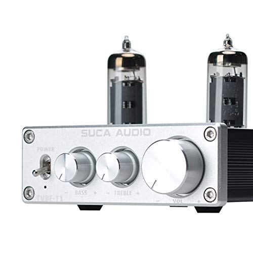 SUCA-AUDIO Tube-T1 Preamplifier, Vacuum Tube Amplifier Buffer Mini Hi-Fi Stereo Preamp with Treble & Bass Tone Control for Home Audio Player (6K4 Tubes)