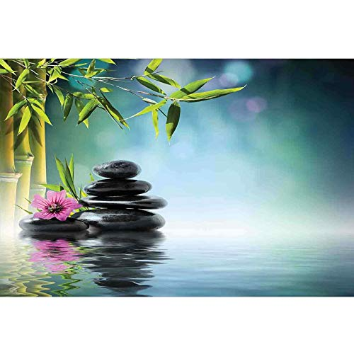 bybyhome Underwater Backdrop Image Decor Zen Garden,Pink Flower Spa Stones and Bamboo Tree on The Water Relaxation Theraphy Peace,Multicolor Photography Background L24 X H16 Inch