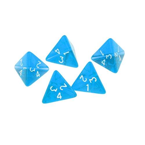 MagiDeal 5pcs Juguetes Educativos Matemáticas Dados 4 Caras - Azule, único
