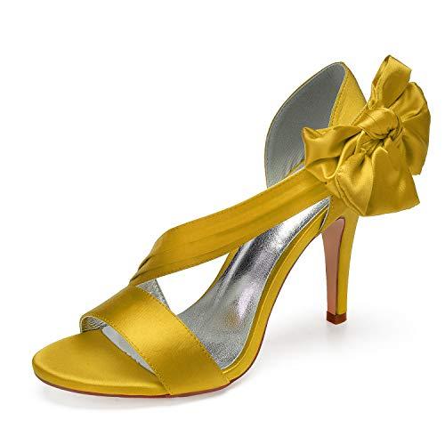 L@YC Sandalias De Fiesta Con Correa De Tobillo De Encaje Frontal De Diamante Para Mujer Zapatos De Tacones Altos,Amarillo,39