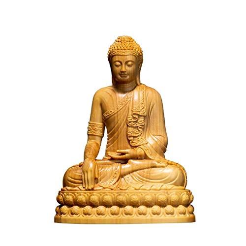 Wgd Foxi Thailand Buddha, Boxwood Shakyamuni Buddha Statue Figur, Hand Geschnitzte Holzfigur Crafts-Verzierungen, Home/Büro-Schreibtisch-Dekor-Geschenk [4Inch Large]
