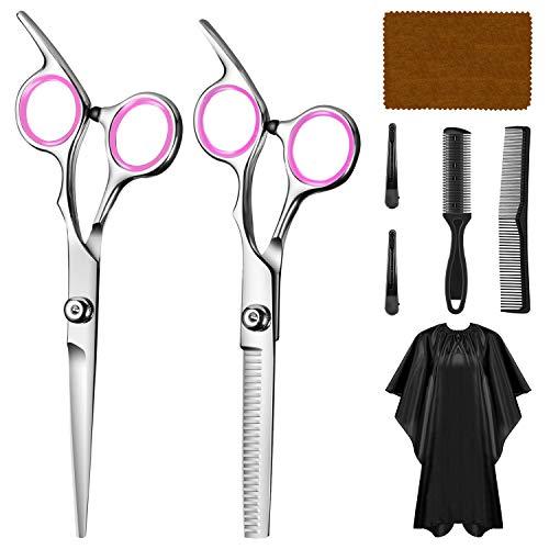 WOMGF barbero Tijeras Cortar Pelo,tijeras de peluquería con capa de barbero y peine de maquinilla de afeitar, clips,Conjunto Tijeras Peluquelo Profesional para el cabello,Rosado