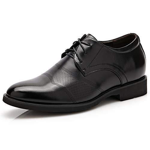 RINCO 6 cm más alto clásico de piel sintética para hombre, zapatos elevadores de altura para negocios Oxford (plantilla extraíble)` (color: negro, talla: 5 UK)