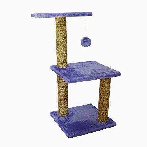 Qxinjinxpj kattträd och torn stora katter Tre lager fyrkantig katt klätterställning plysch bas Mus Fun våren Wood plysch trasa Spring hampa rep rack, inlägg Kitty Pet Play House