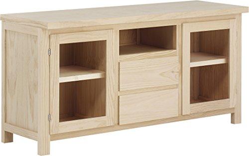 ojemar International Table TV noire 2 portes, 2 tiroirs et niche