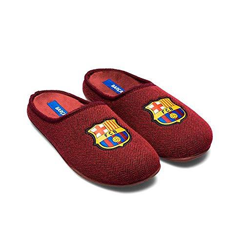 Zapatillas FC Barcelona Rojo Espiga Zapatillas de Estar por casa Hombre Invierno Otoño - 40.5 EU