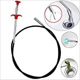 Deoxys ABS and Stainless Steel Hair Catching Drain Cleaner Wire Spring Sink Cleaning Stick (160 cm; Red)