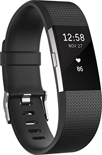Fitbit Charge 2, Braccialetto per Fitness e Battito Cardiaco Unisex-Adulto, Nero, Large