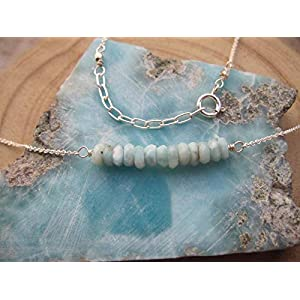 Dainty Dominican Larimar Beaded Bar Necklace 925 Sterling Silver