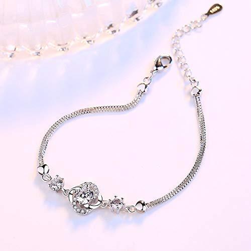 yqs pulsera plata esterlina nueva joyería de moda de las mujeres púrpura cristal circón cuatro hojas trébol flor 227