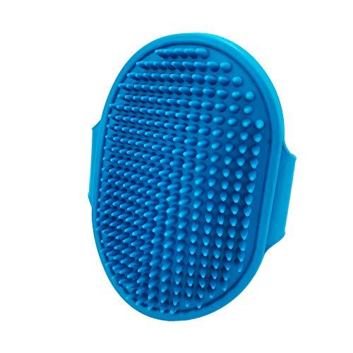 Spazzola da bagno per animali domestici, spazzola in gomma per toelettatura 3 in 1 con fibbie ad anello regolabili, da utilizzare per cani o gatti per rimuovere i peli lunghi o corti, blu