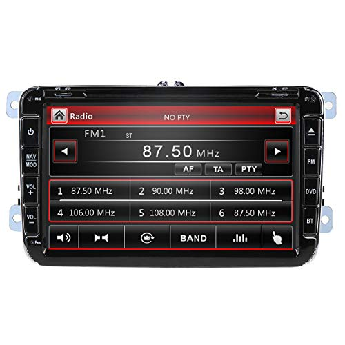Wince Car Stereo Vehicle Bluetooth Music/Am/FM/DVD Player Compatible con VW/Skoda/Seat con Pantalla capacitiva de 8 Pulgadas Juegos incorporados Teléfono Android Enlace Espejo GPS RDS SWC