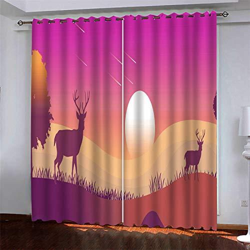 SSHHJ Impresión Digital Cortinas Opacas 3D Poliéster Impermeable No Requiere Cortinas Perforadas Patrón De Dibujos Animados De Animales 2 Piezas