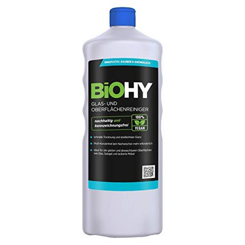 BiOHY Glas- und Oberflächenreiniger (1l Flasche) | Alkoholreiniger Konzentrat | Universalreiniger | Intensiv & Nachhaltig reinigender Automatenreiniger | Profi Bio-Reiniger