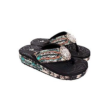 Montana West Flip Flops American Comfortable Flip Flops For Women Western Embroidered Wedge Sandal Shoes Black Size 11 SEF05-S001 BK11