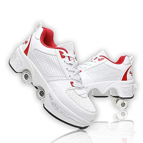 Dytxe-shelf Patines De Ruedas 4 Ruedas para Adultos Niños Patines sobre Ruedas Patines En Línea Zapatos Multifuncionales De Deformación Patinadores