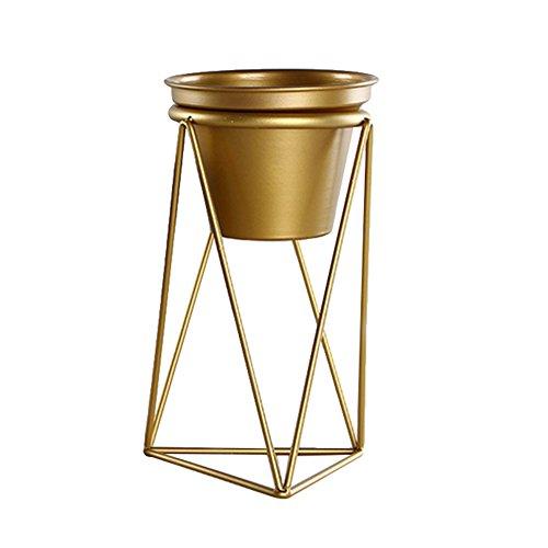 Jannyshop - Soporte para maceta con soporte de hierro geométrico para decoración del jardín o el hogar, color dorado, Large