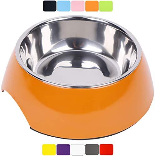 DDOXX Fressnapf, rutschfest   viele Farben & Größen   für kleine & große Hunde   Futter-Napf Katze   Hunde-Napf Hund   Katzen-Napf Edelstahl-Napf   Melamin-Napf   Orange, 350 ml