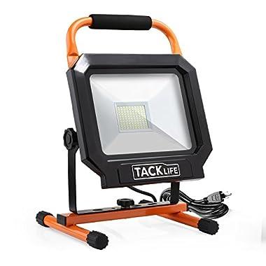 Tacklife 5000LM 50W LED Work Light [100LEDs,400W Equivalent], The Best Heat Dissipation, IP65 Waterproof Flood Lights, 360/270 Degree Adjustable Lighting Angles - LWL3B