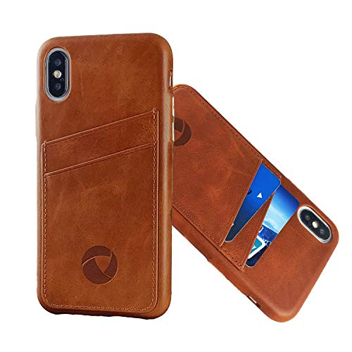 Luckycoin iPhone X XS Leather Case Cowhide Vintage Genuine Leather Handcraft Case with Metal Button Card Slots Support Wireless Charging for iPhone Xs