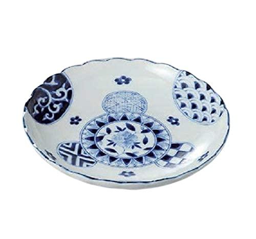 エールネット(Ale-net) 大皿 白 23.2cm 藍丸紋菊型8.0皿 美濃焼
