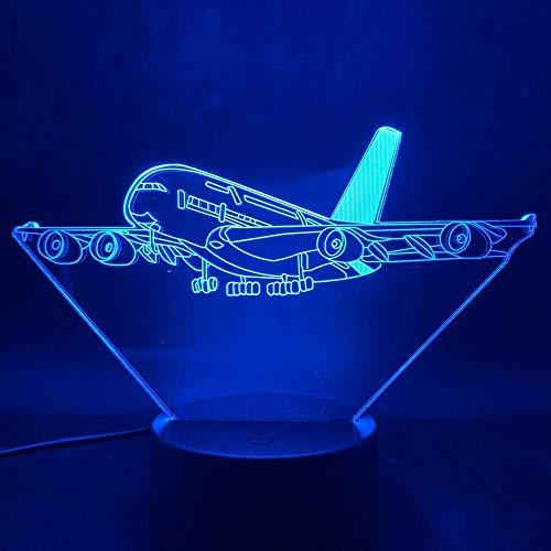Kinderen 3D Illusie Nacht Licht Vliegtuig Airbus A380 Beste Model Light-Emitting Batterij-aangedreven Led Nachtlampje